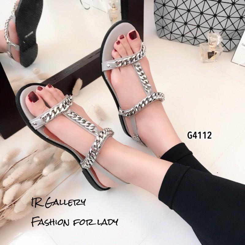 รองเท้าแตะโซ่คาดหน้า G4112-เทา (สีเทา)