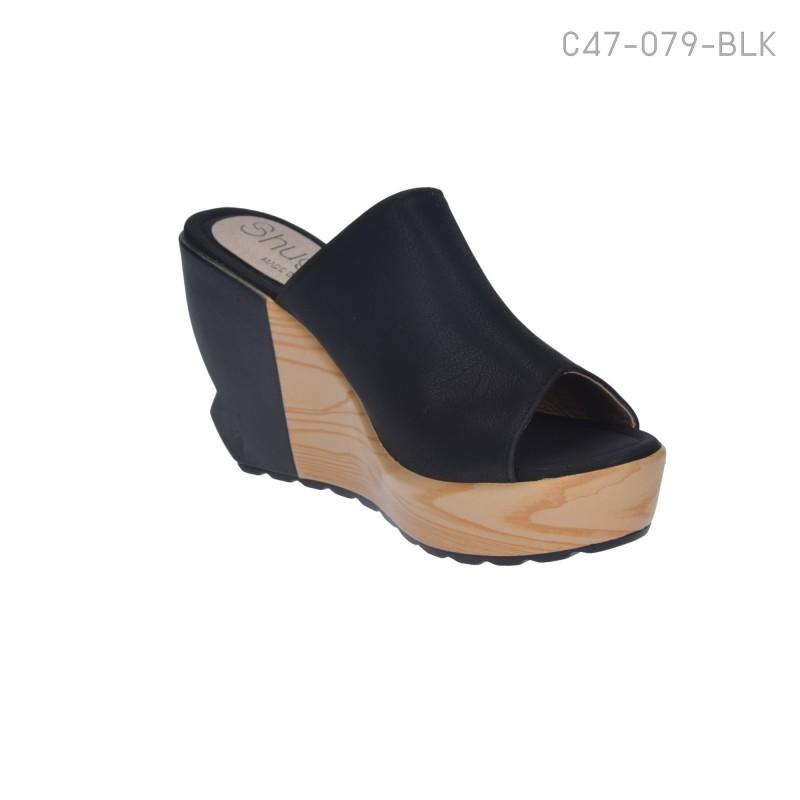 รองเท้าส้นเตารีดแบบเปิดส้น ใส่ลำลอง (สีดำ )