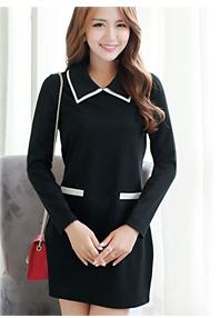 รับตัวแทนจำหน่ายชุดเดรสทำงานแฟชั่นเกาหลีสีดำตัดลายขาว