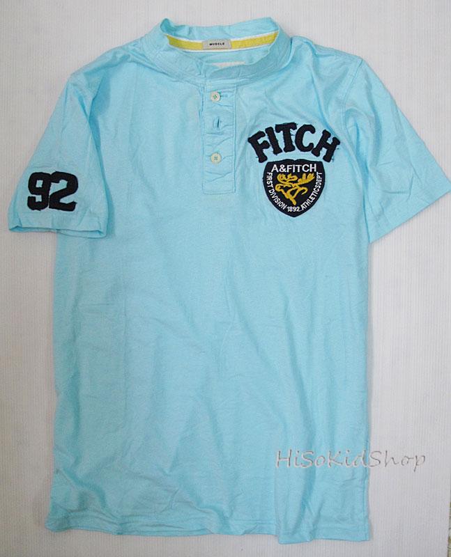 1689 Abercrombie & Fitch T-Shirt เสื้อยืดคอจีน สีฟ้า สำหรับผู้ใหญ่ค่ะ size M