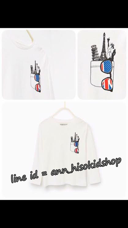 1722 Zara Long sleeve Glasses top - White ขนาด 8,9-10,11-12 ปี