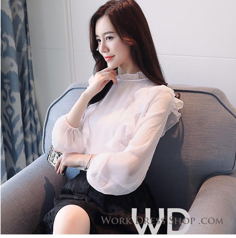 Pre-order เสื้อทำงาน สีขาว แต่งระบายสวยหวาน เนื้อผ้าซีฟองใส่สบาย ระบายอากาศได้ดี