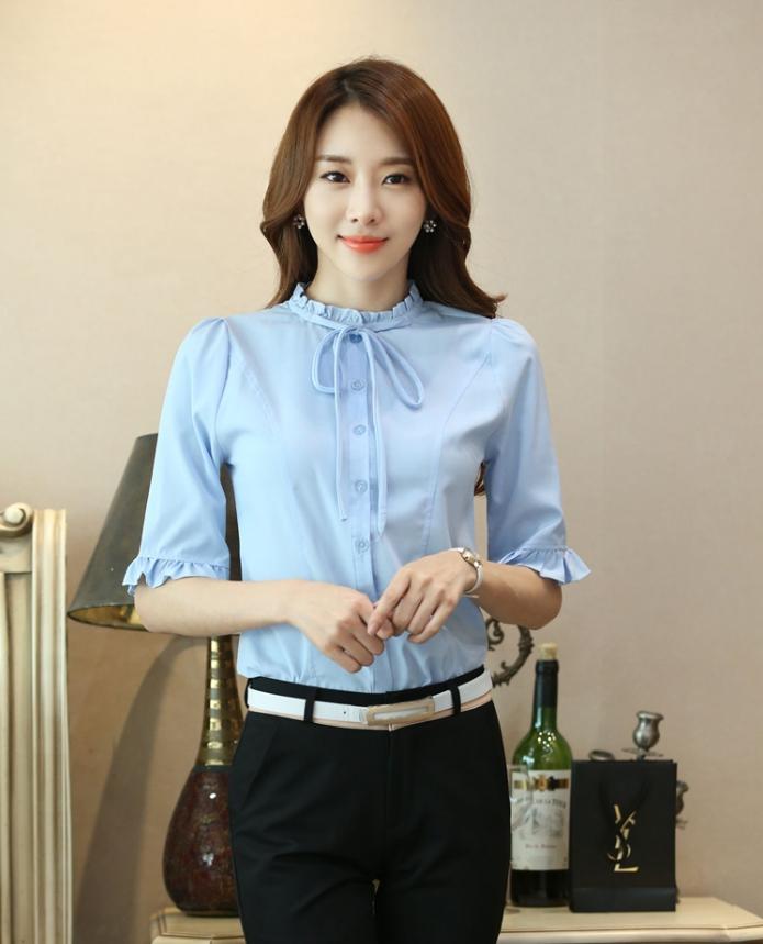 เสื้อเชิ้ตแฟชั่น คอจีบ ระบายแขน มีสายผูกโบว์คอเสื้อ สีฟ้า
