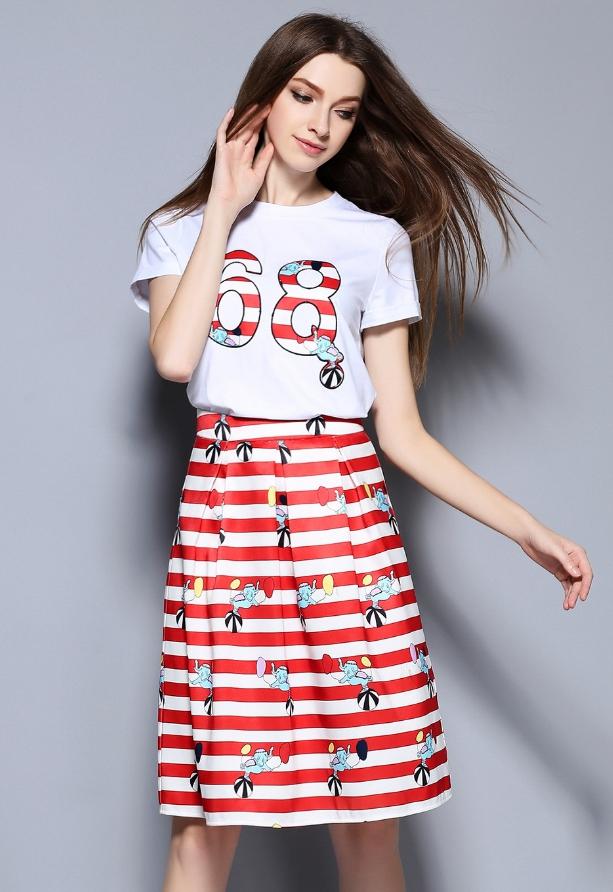 Set เสื้อขาวเลข 68 + กระโปรงลายสีแดงขาว