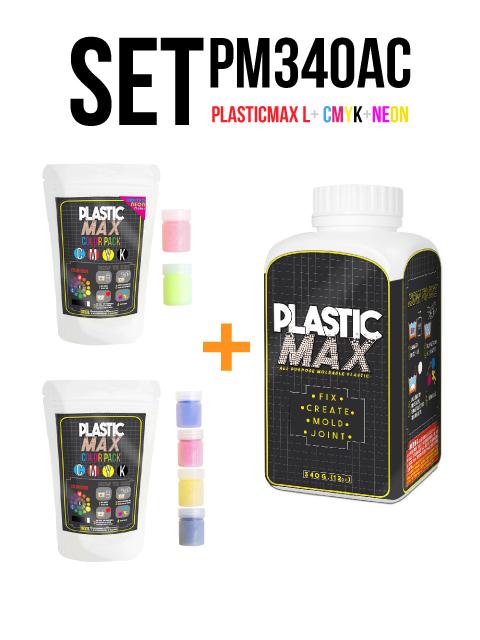 เซ็ตเม็ดพลาสติก แม๊กซ์ (พลาสติกมหัศจรรย์ปั้นได้) ไซส์ L + เม็ดพลาสติกสี 6 สี (CMYK+สีสะท้อนแสง) - SET PLASTIC MAX SIZE : L + CMYK/NEON 6 COLORS - Moldable Plastic for DIY CRAFT ART