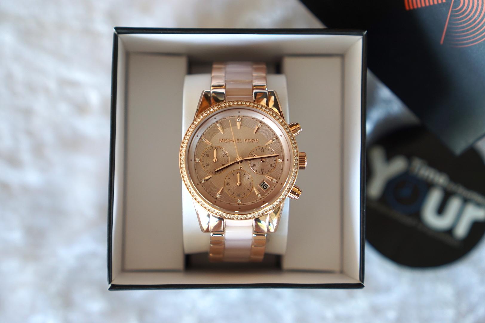 29ed6190e2b Michael Kors MK6307 (37mm) Ritz Quartz Chronograph Rose Dial Rose Gold-tone  Pink