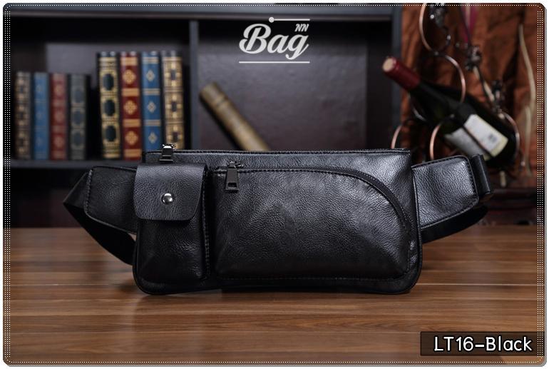 กระเป๋าคาดอก หนัง PU สีดำ | LT16