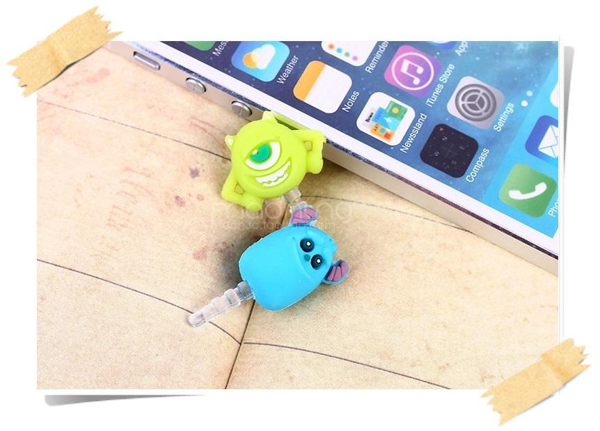 จุกกันฝุ่นมือถือ แซลลี่ ไมค์ มอนสเตอร์ สำหรับเสียบกันฝุ่นรูหูฟังและเพื่อความสวยงามสำหรับ iphone samsung htc oppo lg sony nokia asus หรือมือถือที่มีหูฟังขนาด 3.5 มม. / 3.5mm. Anti Dust Earphone Cap Jack Plug