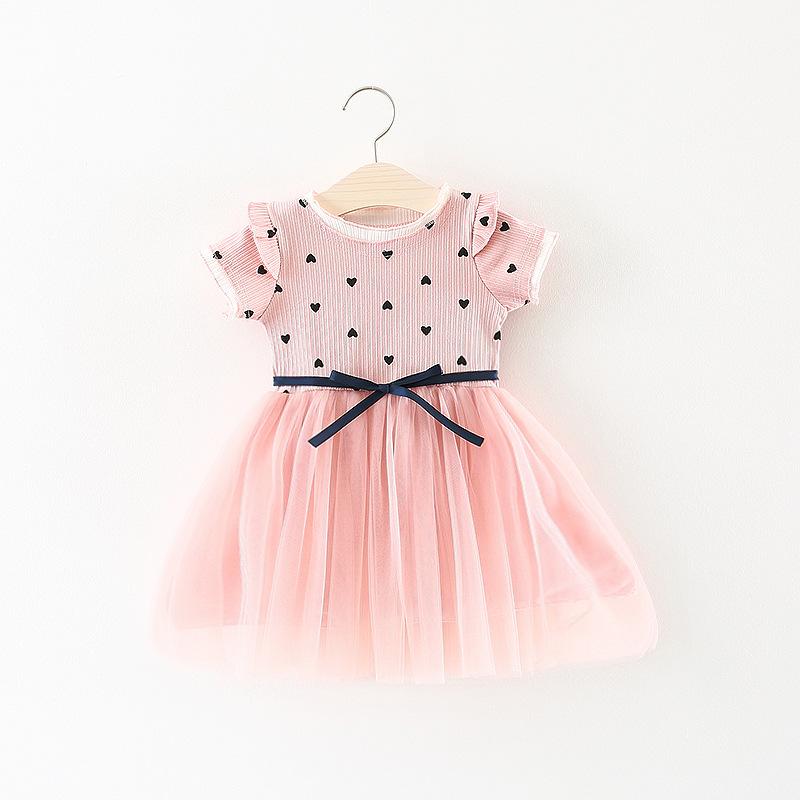 ชุดเดรสสีชมพูลายหัวใจ [size 6m-1y-18m-2y-3y]