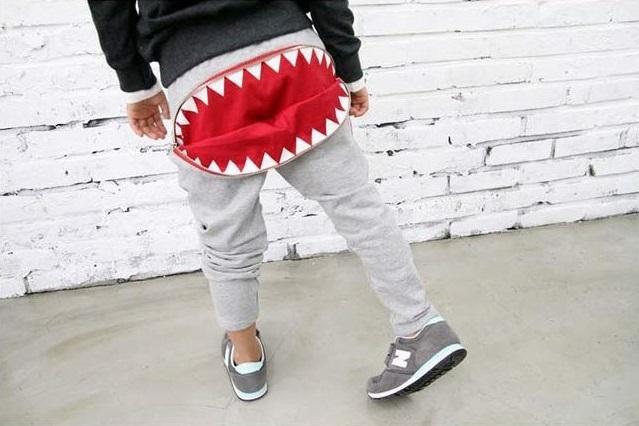 กางเกงขายาวสีเทาแต่งซิปปากฉลามตรงก้น แพ็ค 4 ชิ้น [size 2y-4y-5y-6y]