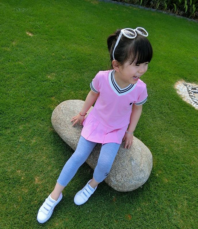 เสื้อตัวยาวสีชมพูแต่งหัวใจที่หน้าอก [size 2y-3y-4y-5y-6y]