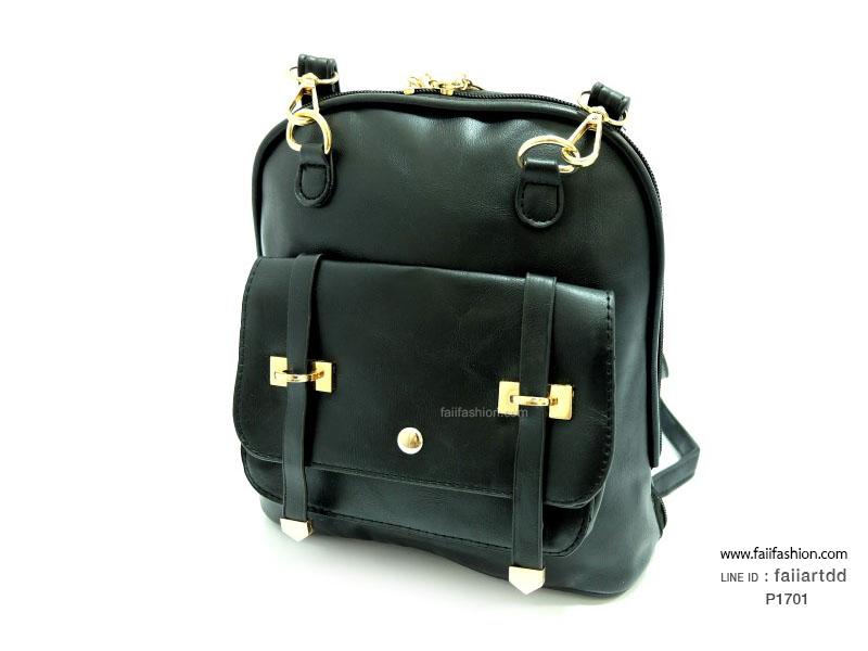 กระเป๋าแฟชั่น สไตล์เกาหลี ปรับเป็นเป้หรือสะพายได้ แต่งเข็มขัดคู่