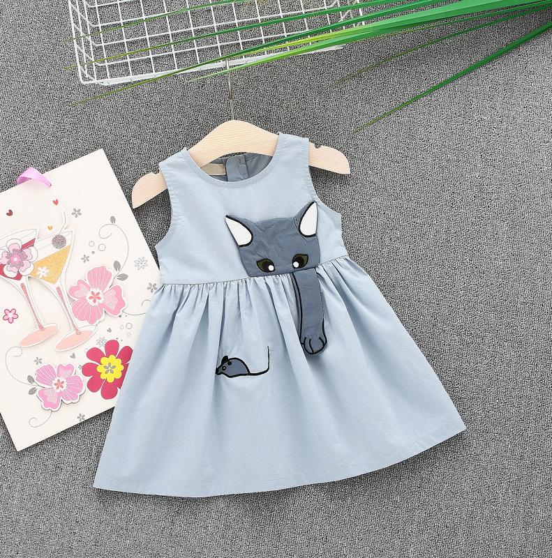 ชุดเดรสสีฟ้าลายน้องแมวจับหนู [size 6m-1y-18m-2y]
