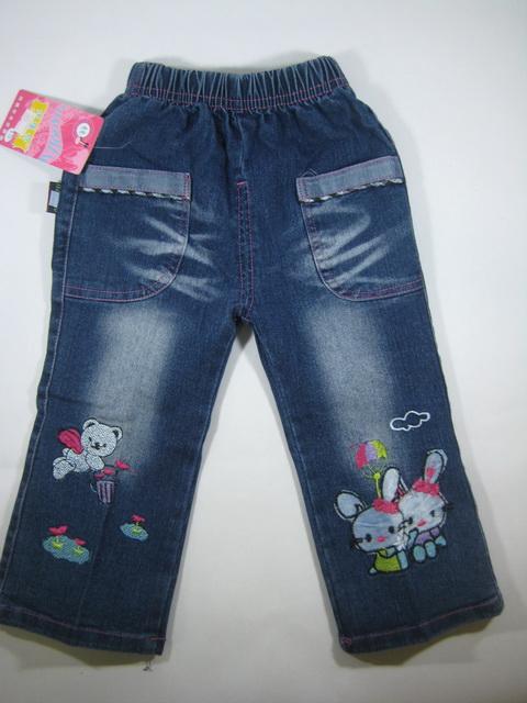 CNJ011 กางเกงยีนส์ เด็กหญิง ขายาว ผ้านิ่มใส่สบาย ปักแปะลายกระต่ายและหมี กระเป๋าหน้าสองข้างขลิบลายน่ารัก Size 16/18