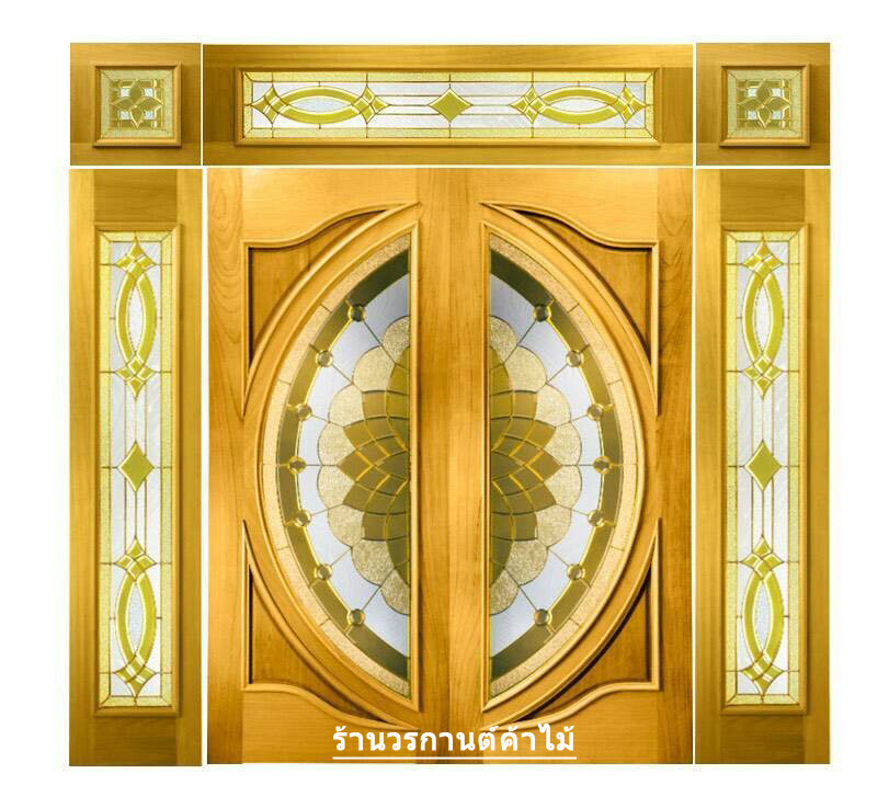 กระจกนิรภัยสเตนกลาส แตงโมเต็มบานสีทอง รหัส G09