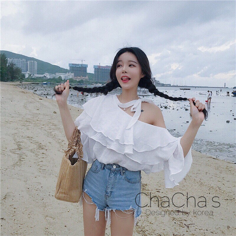เสื้อแฟชั่นFrill Trim Off-Shoulder Bell-Sleeve Blouse