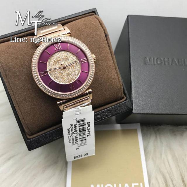 นาฬิกาข้อมือ MICHAEL KORS รุ่น Catlin Crystal-set Burgandy Dial Rose Gold-plated Ladies Watch MK3412