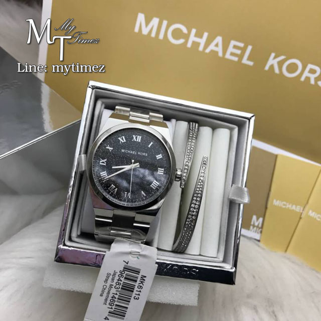 MICHAEL KORS Channing Midnight Blue Shimmer Dial Stainless Steel Ladies Watch MK6113 + Bracelet Set