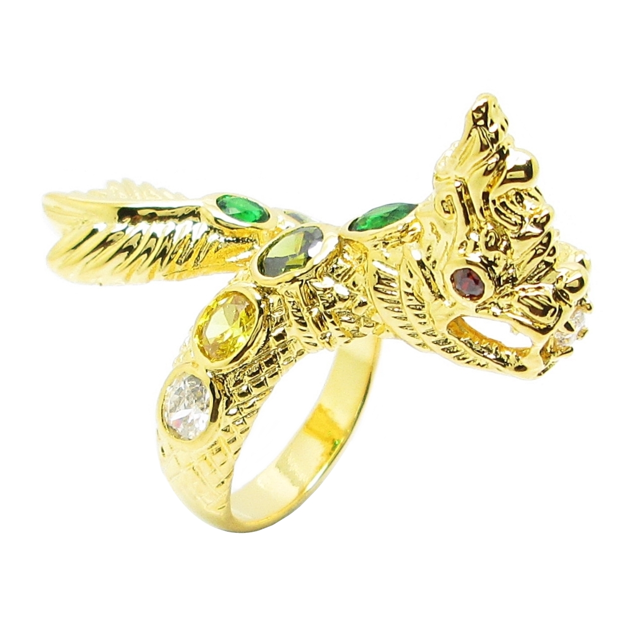 แหวนฟรีไซส์พญานาคประดับพลอยหลากสีชุบทอง