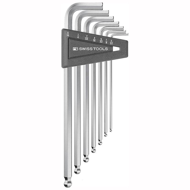 หกเหลี่ยมชุด PB Swiss Tools หัวบอล ยาว รุ่น PB 212 ZLH เบอร์ 3/32 - 5/16 นิ้ว (7 ตัว/ชุด)