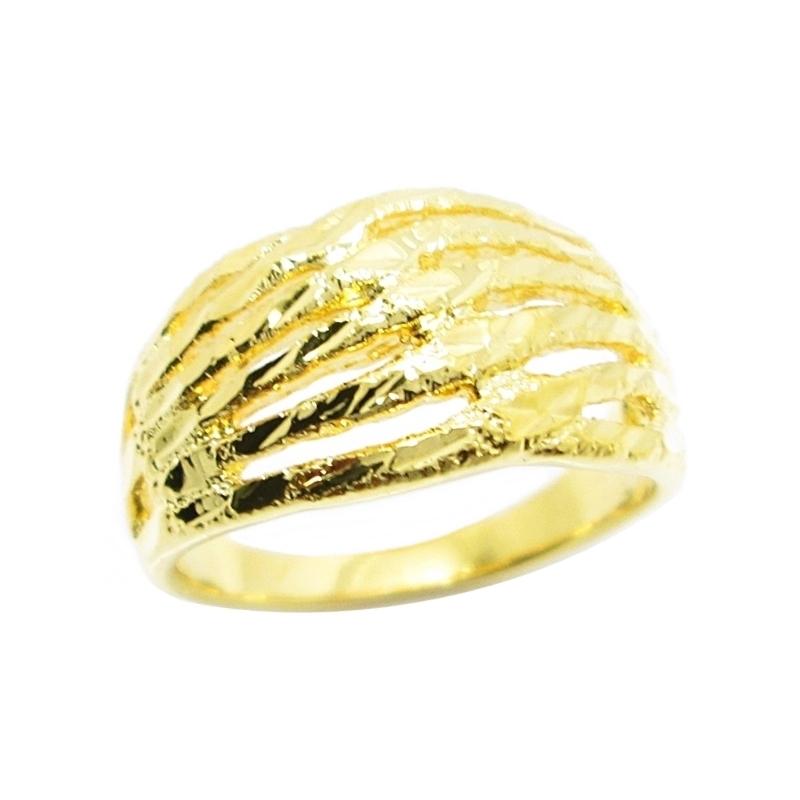 แหวนตัดลายจิกเพชรก้านแยกชุบทอง