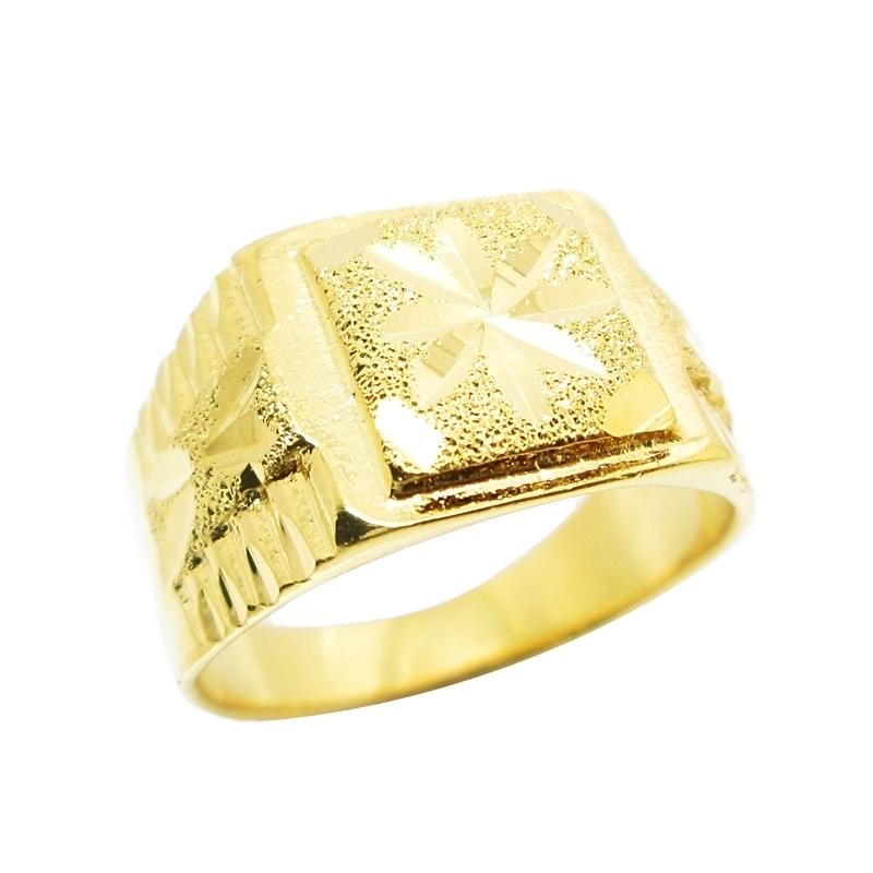 แหวนผู้ชายตัดลายจิกเพชรชุบทอง