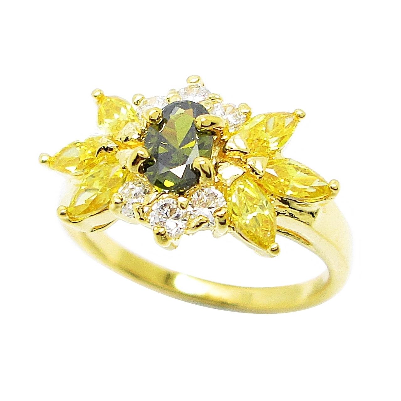 แหวนดอกไม้พลอยสีเขียวส่องประดับเพชรและพลอยมาคีย์บุศราคัมชุบทอง