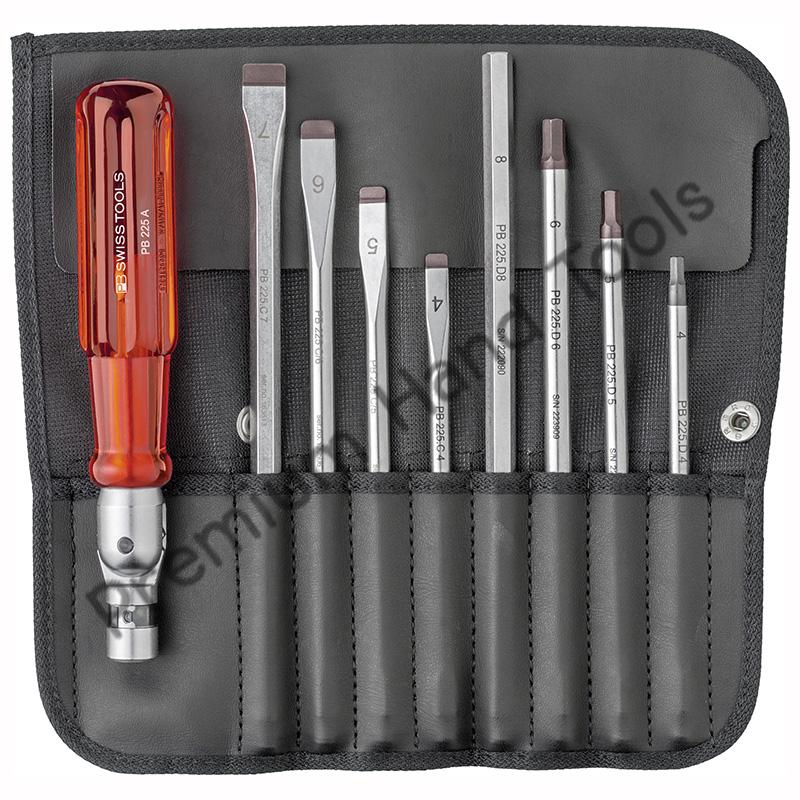 ไขควงชุด PB Swiss Tools รุ่น PB 225 แกนไขควงปากแบน และหกเหลี่ยม ด้ามงอได้ (9 ตัว/ชุด)