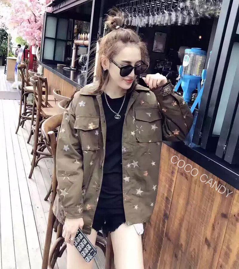 เสื้อแจ็คเก็ตแฟชั่น Military Millions Star Embroidery Jacket