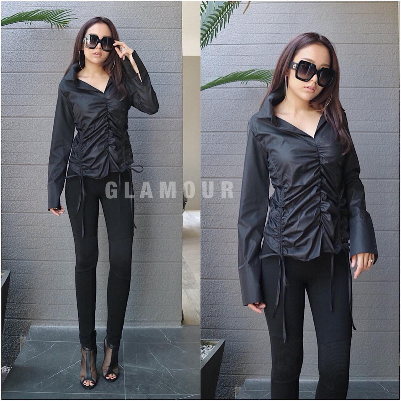 เสื้อเชิ้ตแขนยาวแฟชั่นสีดำ