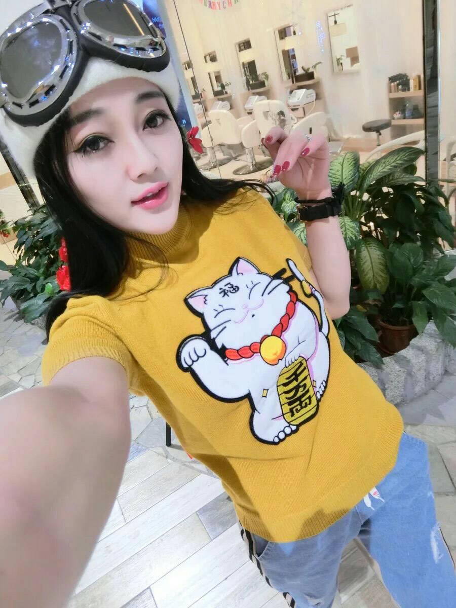 เสื้อแฟชั่นลายน้องแมวสีเหลือง