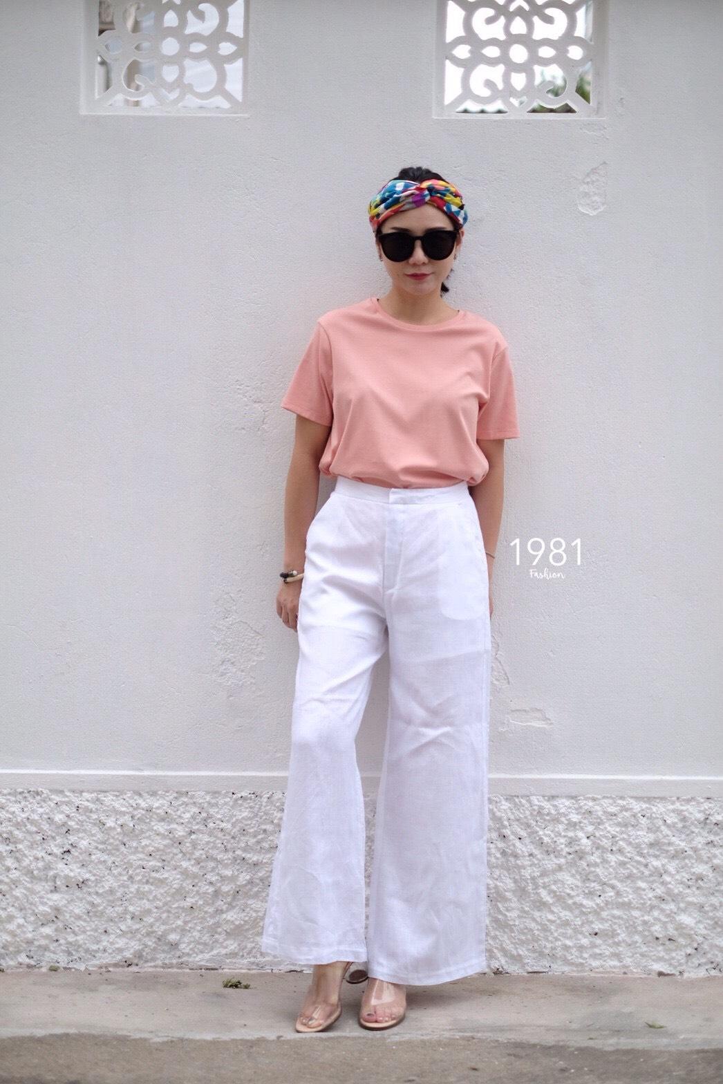 กางเกงแฟชั่นทรงขาบานผ้าลินิน สีขาว