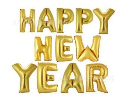 ลูกโป่งฟอยล์ HAPPY NEW YEAR [ยกเซต] ขนาด 16 นิ้ว - สีทอง