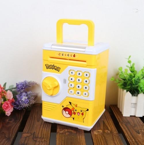 ออมสินตู้เซฟดูดแบงค์อัตโนมัติ รุ่นมีหูหิ้ว+ไฟ RGB สีเหลือง #ปิกาจู