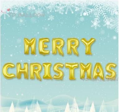 MERRY CHRISTMAS [ยกเซต] ขนาด 16 นิ้ว - สีทอง
