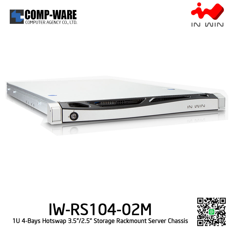 In Win Rackmount Server Chassis IW-RS104-02M 1U 4-Bays, 500W fixed supply, slide rail, Bezel