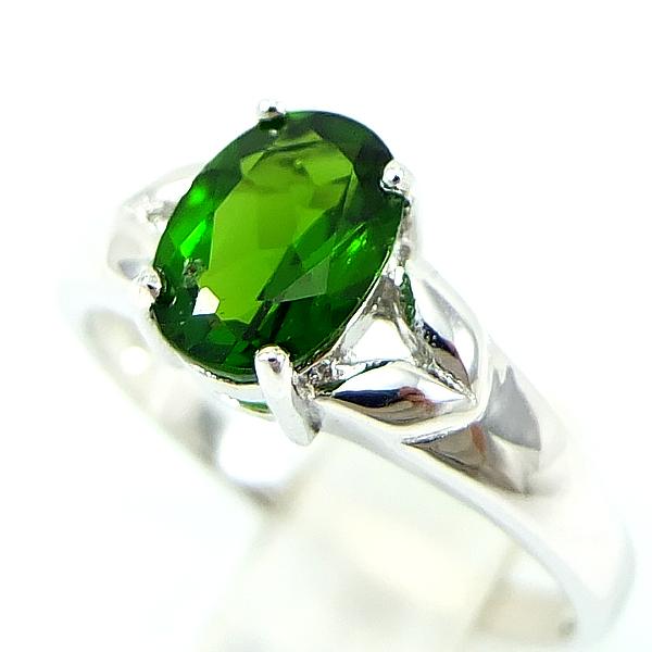 แหวนพลอยผู้หญิงเงินแท้ 92.5 เปอร์เซ็น ฝังด้วยพลอยโครมไดออปไซด์แท้