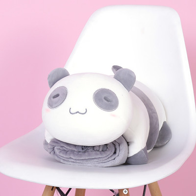 SC0006 Free ปักชื่อบนผ้าห่ม!! ตุ๊กตาหมอนผ้าห่มหมีแพนด้าขี้เซา นุ่มนิ่มน่ากอด