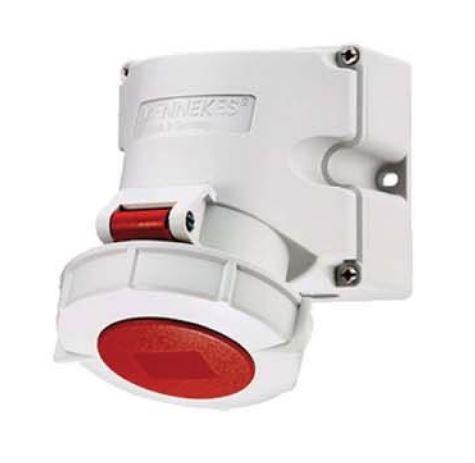ปลั๊กตัวเมียติดผนัง มาตรฐาน CEE ชนิกกันน้ำ (สำหรับตู้คอนเทนเนอร์) IP67 32Amp 4 ขั้ว 380 - 440V