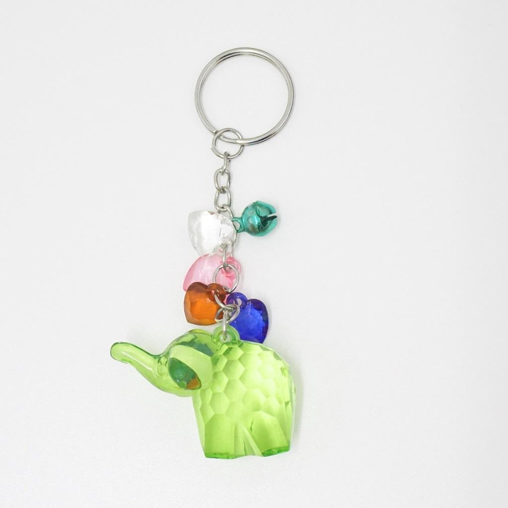 พวงกุญแจคริสตัล ช้าง(สีเขียวอ่อน) 12อัน