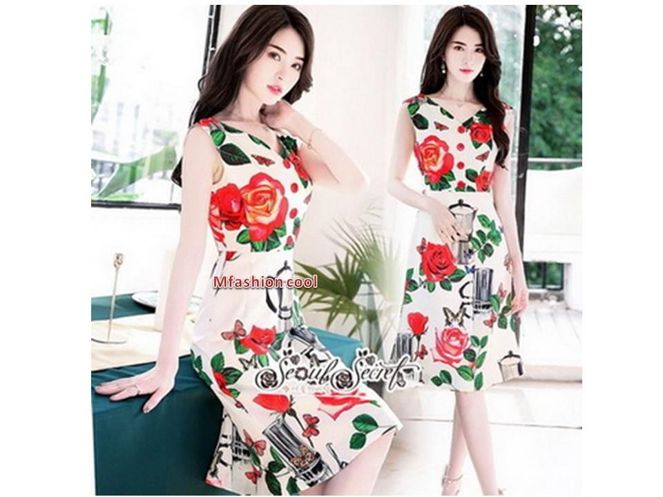 ผ้าเครปพิมพ์ลายดอกกุหลาบสีแดง หมวดหมู่ เสื้อผ้าแฟชั่นเกาหลี Seoul Secret