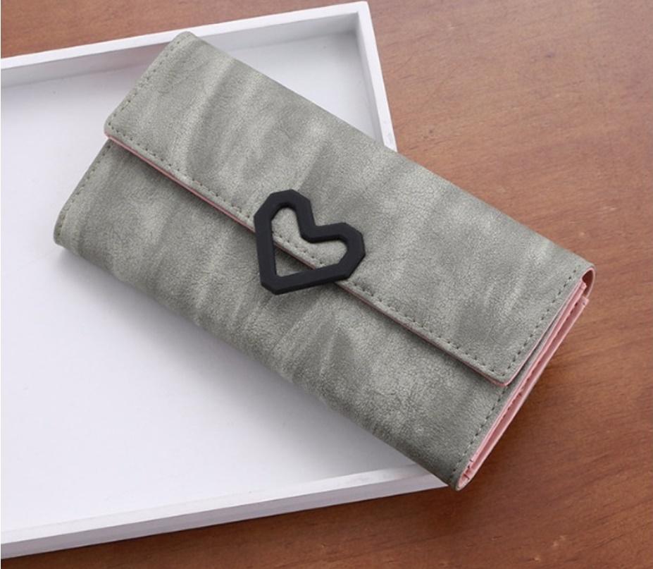 กระเป๋าสตางค์ใบยาว สไตล์เกาหลี สีเทา ประดับหัวใจ ขนาด 3 พับ