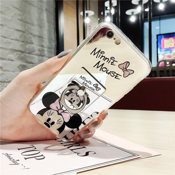 (025-447)เคสมือถือไอโฟน Case iPhone 7 Plus เคสนิ่มใสพื้นหลังแววลาย Mickey Minnie