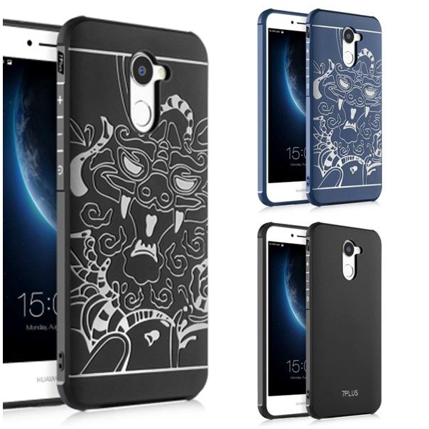 (025-878)เคสมือถือ Case Huawei Y7prime เคสนิ่มป้องกันแรงกระแทก พื้นหลังลายมังกร 3D /พื้นหลังลายเรียบ