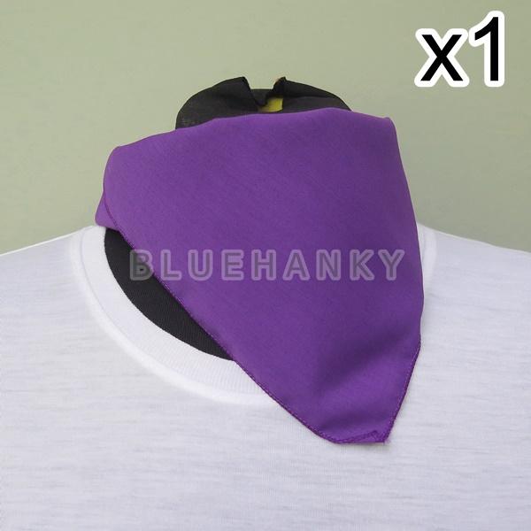 สีม่วงเข้ม สี่เหลี่ยม53ซม ผ้าพันคอกีฬาสี ผ้าเช็ดหน้าผืนใหญ่