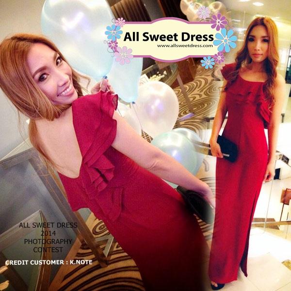 ภาพลูกค้าคุณโน๊ตจากซอยเอกชัย 35 ที่มาใช้บริการเช่าชุดราตรียาวสีแดงไหล่เดี่ยวเว้าหลังแบบสวยชวนมอง ของร้านเช่าชุดราตรี All Sweet Dress ย่านฝั่งธน รีวิวส่งมาให้ชมด้วยรอยยิ้มจริงใจค่ะ