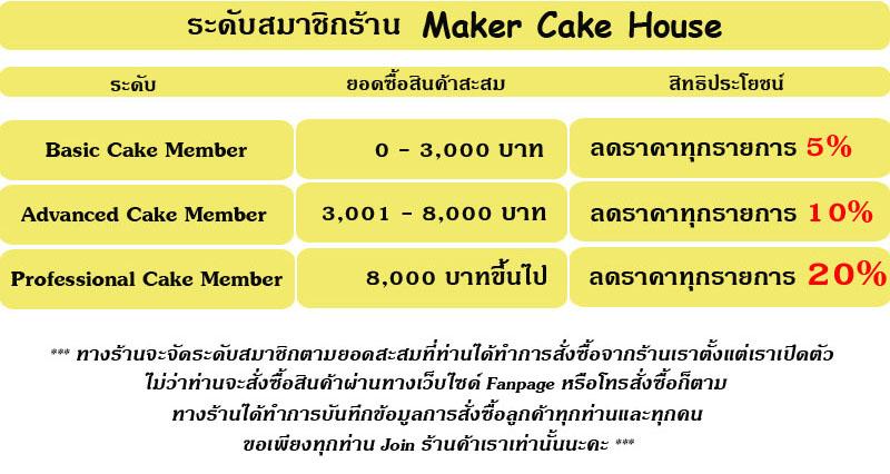 ระดับสมาชิกของร้าน Maker Cake House อุปกรณ์เบเกอรี่
