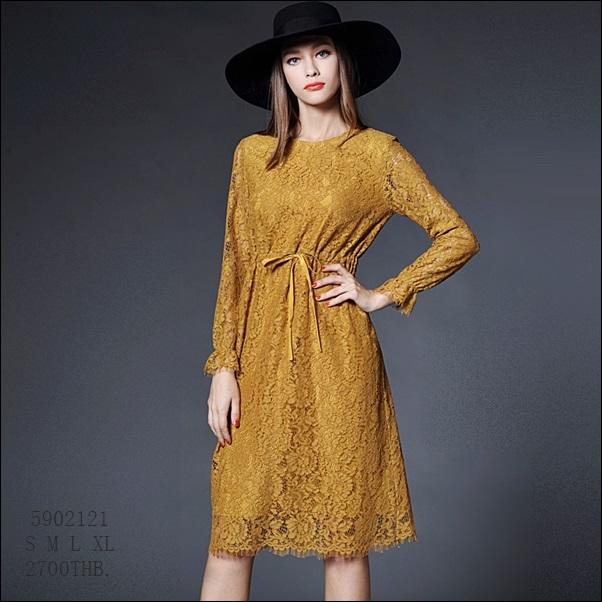 59020121 / S M L XL / 2016 Lace dress พรีออเดอร์ งานคัตติ้งยุโรป คุณภาพดีสมราคา สวยคอนเฟริ์ม