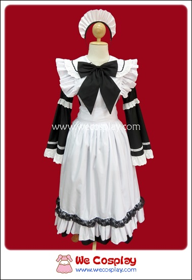 ชุดเมดคลาสสิค กระโปรงยาว สีดำ Black Classic Maid Costume