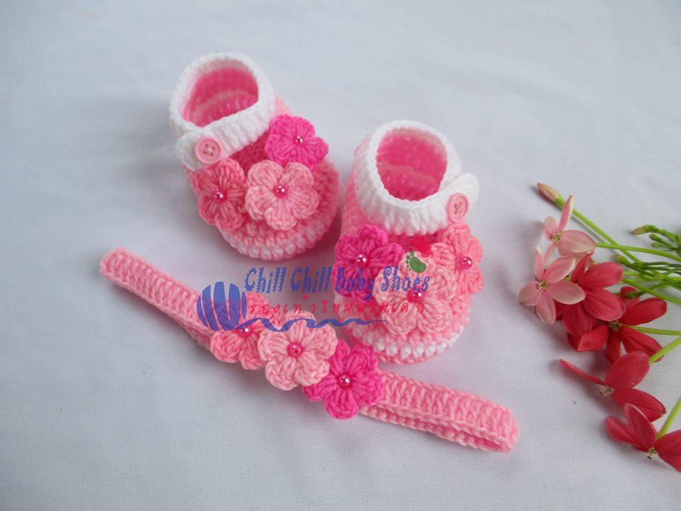 เซ็ทรองเท้า+ผ้าคาดผมติดดอกไม้ ขนาด 1-3 เดือน *ส่งฟรี EMS
